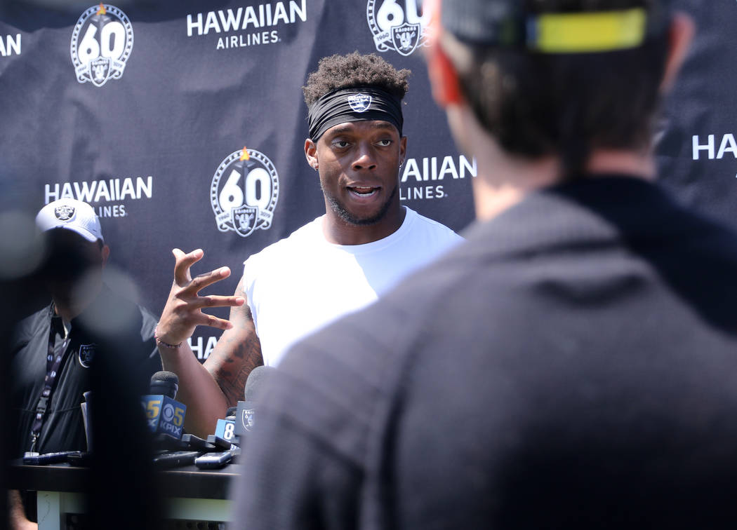 Oakland Raiders inside linebacker Brandon Marshall answers media questions during the NFL team' ...