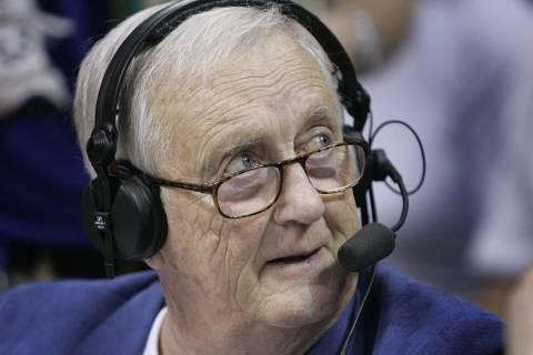 Kansas broadcasting legend Max Falkenstien works his pregame show before the Colorado vs Kansas ...