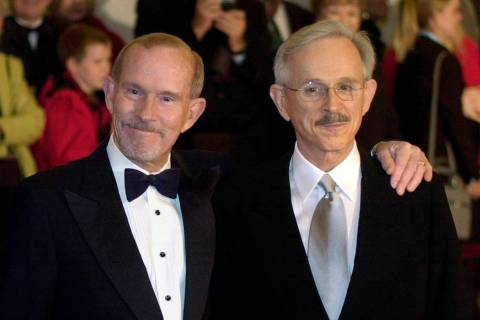 FILE - This Oct. 29, 2002 file photo shows The Smothers Brothers, Tom Smothers, left, and Dick ...