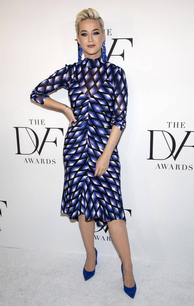 FILE - This April 11, 2019 file photo shows Katy Perry at the 10th annual DVF Awards at the Bro ...