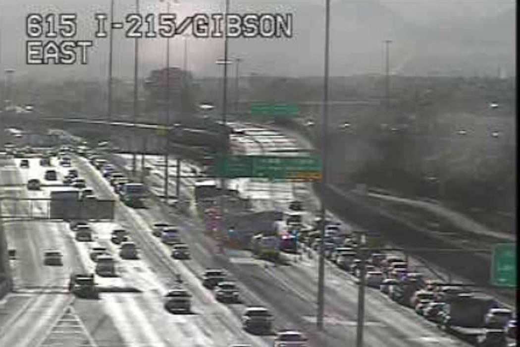 Traffic slows on Interstate 215 near Gibson Road after a vehicle collision about 6:40 a.m. Tues ...