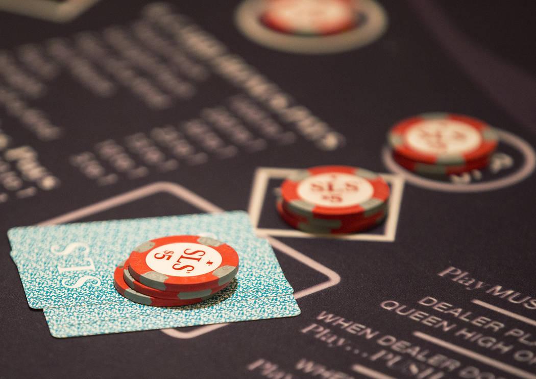 Bets are set at a blackjack table at SLS Las Vegas on Thursday, May, 30, 2019, in Las Vegas. (B ...