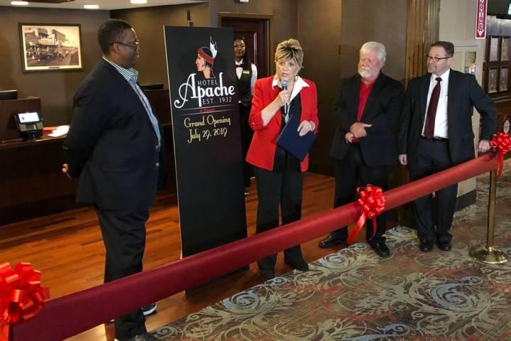 Las Vegas City Councilman Cedric Crear, Las Vegas Mayor Carolyn Goodman, Binion's owner Terry C ...