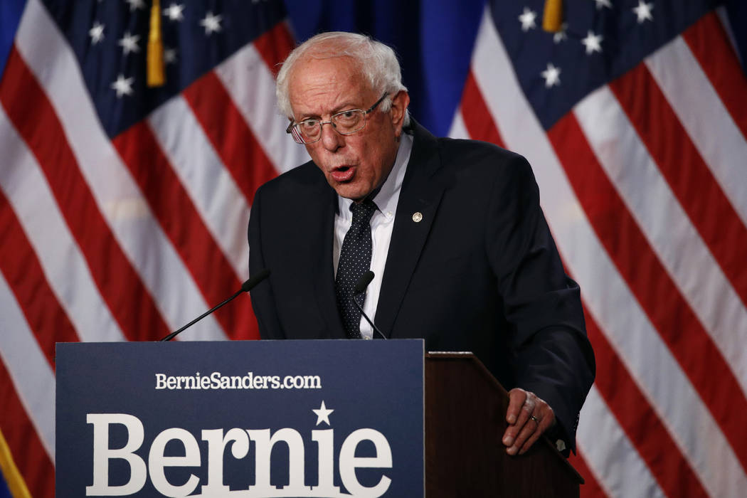 "Democratic presidential candidate, Sen. Bernie Sanders, I-Vt., gives a speech on his ""Medi ..."