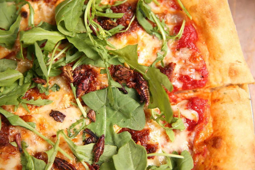 The Canyon Hopper grasshopper pizza at Evel Pie in Las Vegas, Tuesday, July 30, 2019. (Erik Ver ...