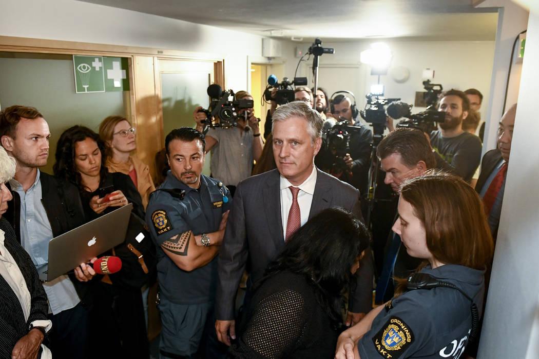 Robert C. O'Brien, U.S. Special Envoy Ambassador, centre, arrives at the district court where U ...