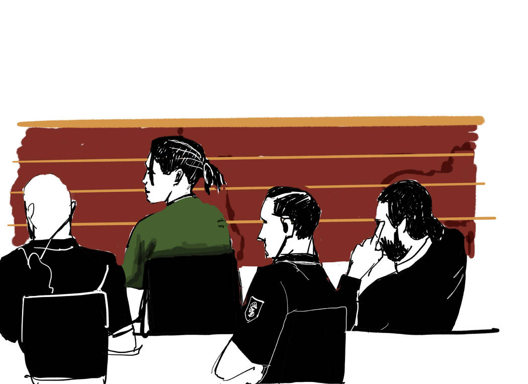 Rakim Mayers known as A$AP Rocky, is seen in green shirt, as he sits in the district court in S ...