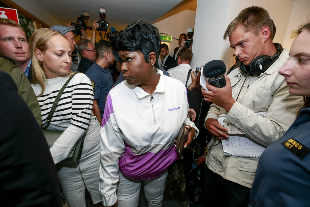 Renee Black returns to the district court in Stockholm after lunch, where her son Rakim Mayers, ...