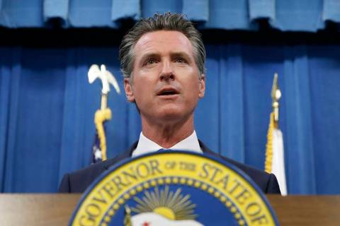 This July 23, 2019 photo shows California Gov. Gavin Newsom during a news conference in Sacram ...