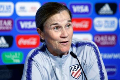 United States coach Jill Ellis attends a news conference at the Stade de Lyon, outside Lyon, Fr ...