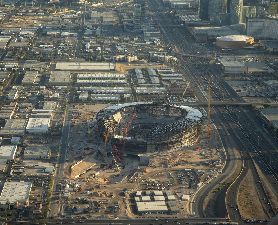 An aerial view of the Las Vegas Stadium, future home of UNLV football and the NFL's Raiders, in ...