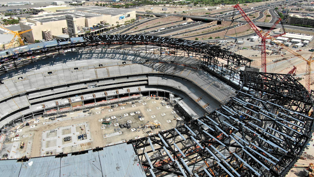 Raiders, builders set topping out ceremony at Las Vegas Stadium | Las Vegas Review-Journal