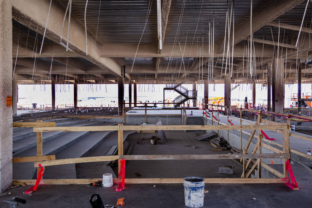 A future theatre on the first floor of the Raiders' headquarters construction site in Henderson ...