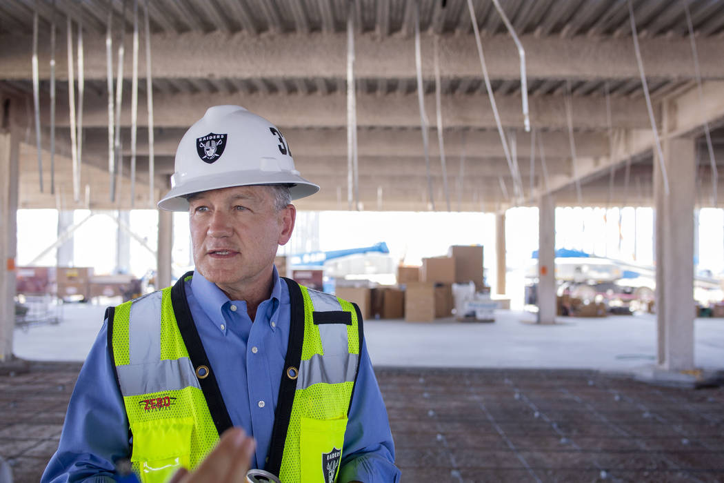 Don Webb, chief operating officer of the LV Stadium Co., gives a tour at the Raiders' headquart ...