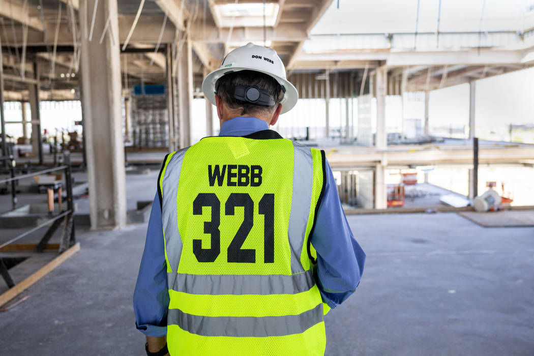 Don Webb, chief operating officer of the LV Stadium Co., gives a tour of the Raiders' headquart ...