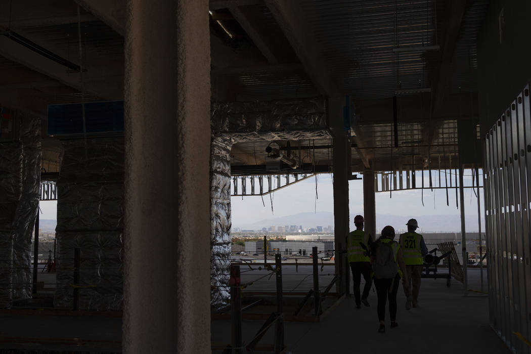 The Las Vegas Strip is seen during a tour of the Raiders' headquarters construction site in Hen ...