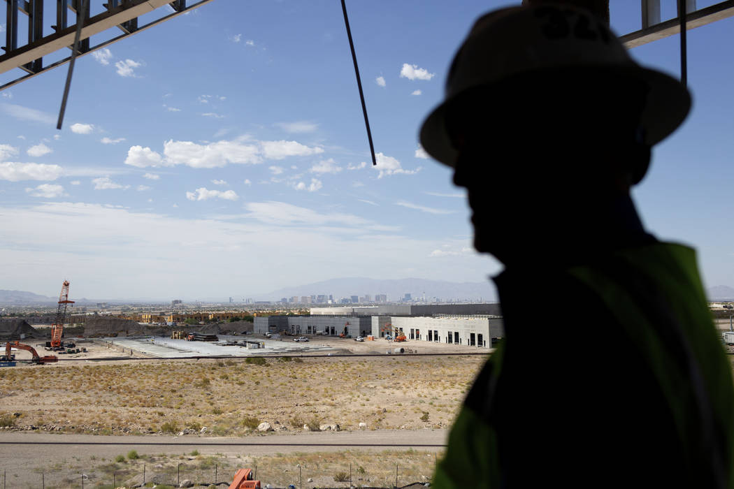 Don Webb, chief operating officer of the LV Stadium Co., shows the view of the Las Vegas Strip ...