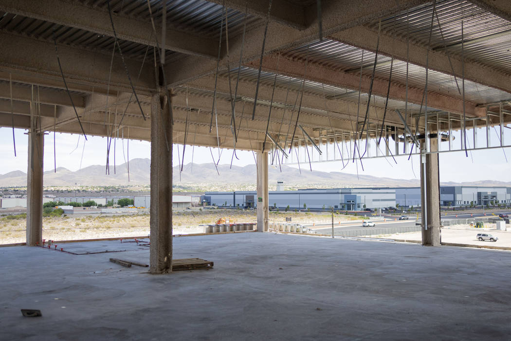 A view of future offices at the Raiders' headquarters construction site in Henderson, Tuesday, ...