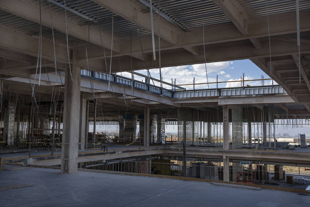 A view of future offices, theatre, production room and cafe at the Raiders' headquarters constr ...