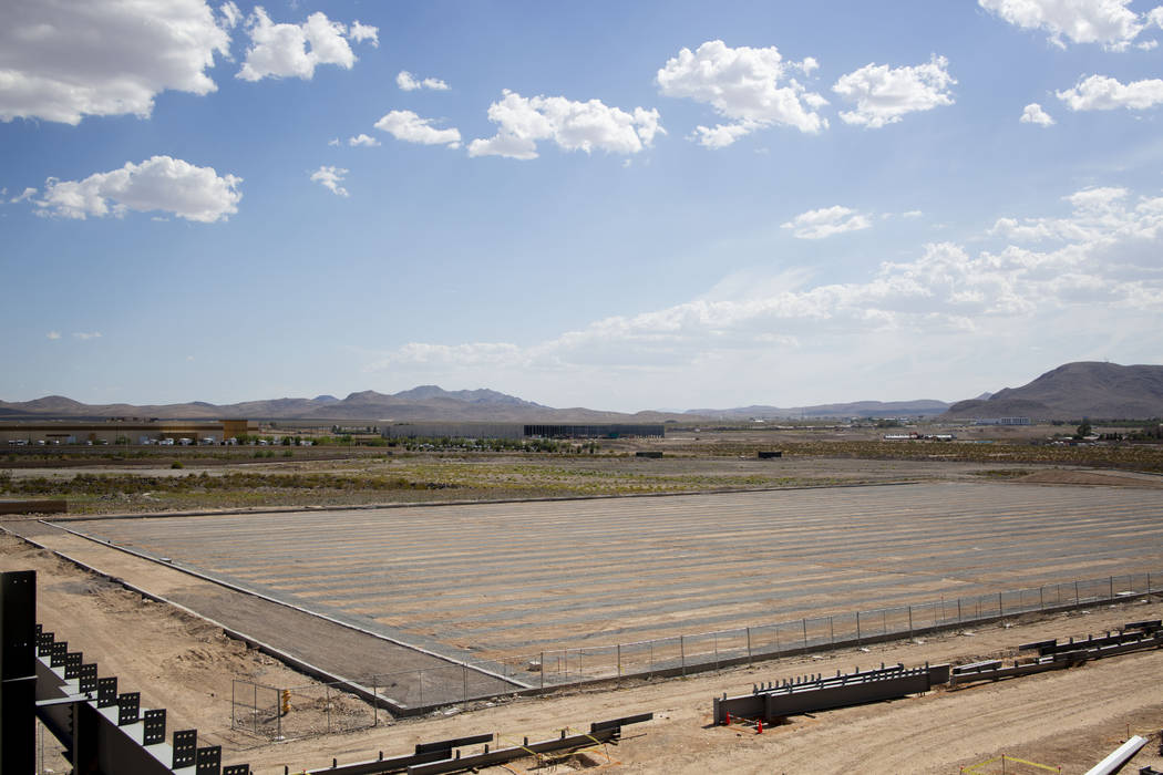 A view of the future natural turf that is as large as three football fields at the Raiders' hea ...