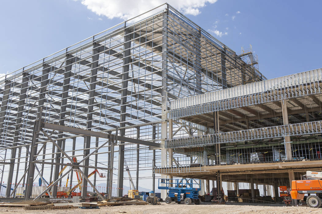 The skeleton of the Raiders' headquarters construction site in Henderson, Tuesday, July 30, 20 ...