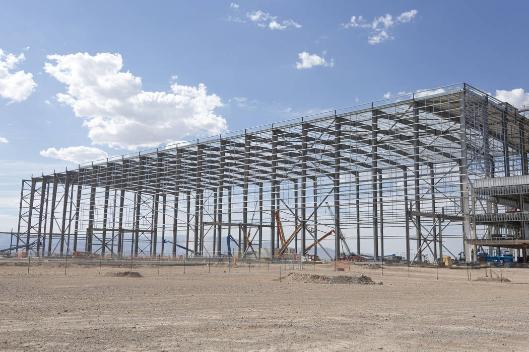 The indoor practice facility that is 110 feet tall at the Raiders' headquarters construction si ...