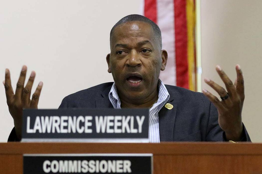 Southern Nevada Regional Housing Authority Commissioner Lawrence Weekly speaks during a special ...