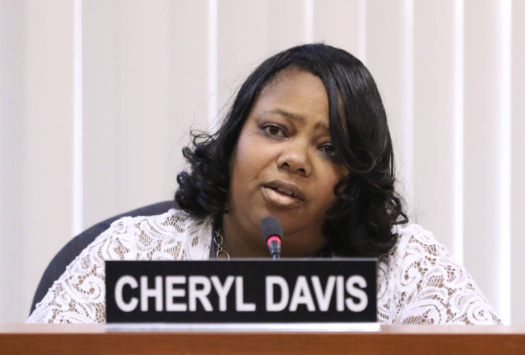 Southern Nevada Regional Housing Authority Resident Commissioner Cheryl Davis speaks during a s ...