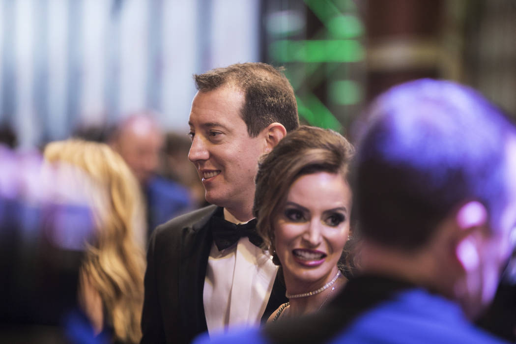 Kyle and Samantha Busch talk to the media during the Fan Red Carpet on Thursday, Nov. 29, 2018, ...