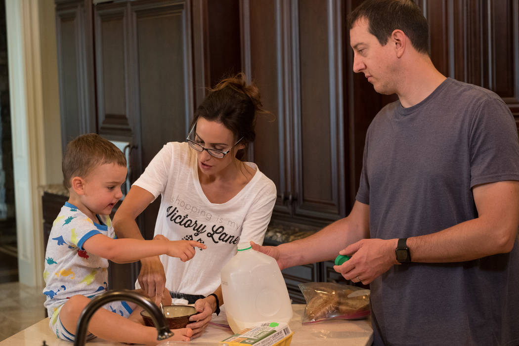 """Samantha and Kyle Busch and their son, Brexton, from """"Racing Wives."""" (CMT)"""