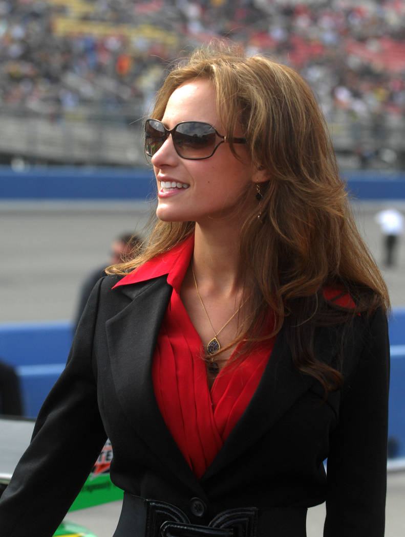 Samantha Sarcinella, fiance of Las Vegas native and NASCAR driver Kyle Busch, stands in the pit ...