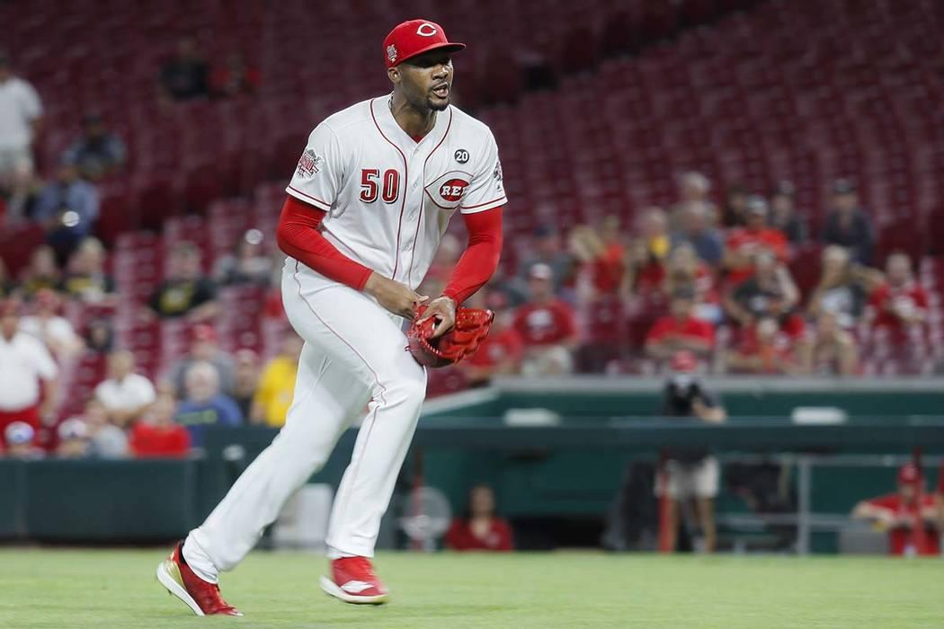 Cincinnati Reds relief pitcher Amir Garrett, a former Las Vegas-area basketball standout, charg ...