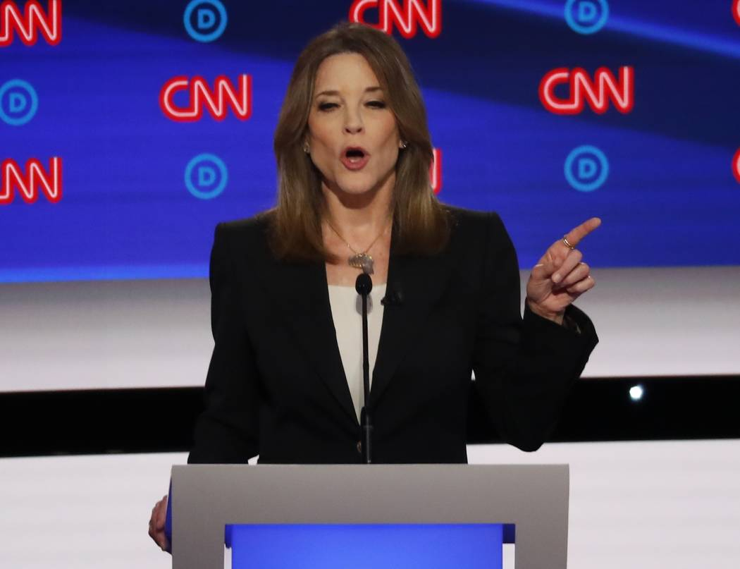 Author Marianne Williamson participates in the first of two Democratic presidential primary deb ...