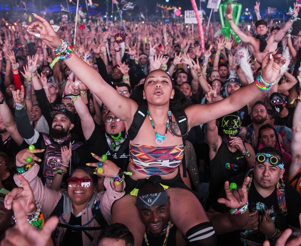 Concert goers cheer for Steve Aoki during his performance at the Circuit Grounds stage on day t ...