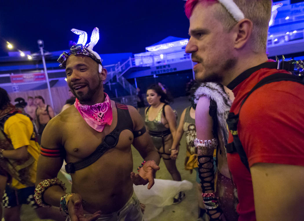 Andrew, left, and Ray H. during the second day of the Electric Daisy Carnival at the Las Vegas ...