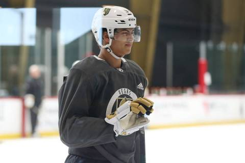 Vegas Golden Knights Marcus Kallionkieli (53) reacts after a play during development camp at Ci ...