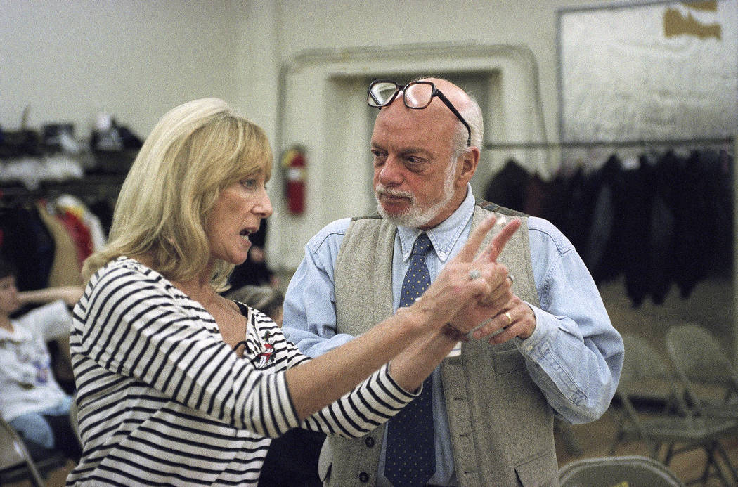In this Nov. 5, 1993 file photo, director Harold Prince, right, talks with choreographer Gillia ...
