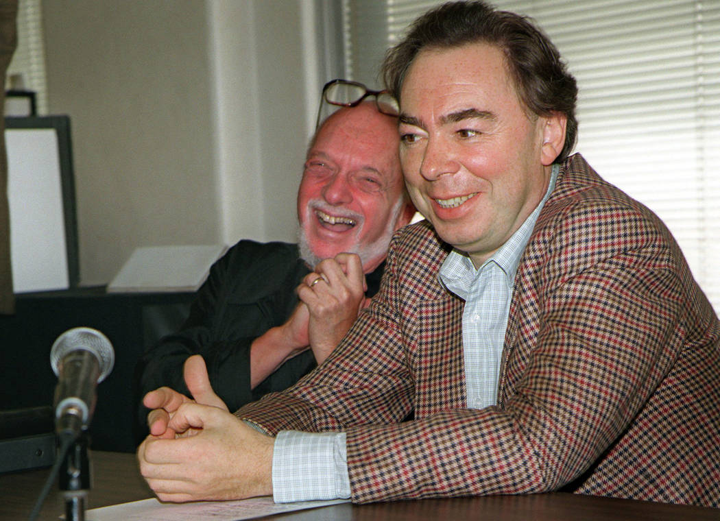 FILE - This Oct. 21, 1996 file photo shows Harold Prince, left, and Andrew Lloyd Webber, face r ...