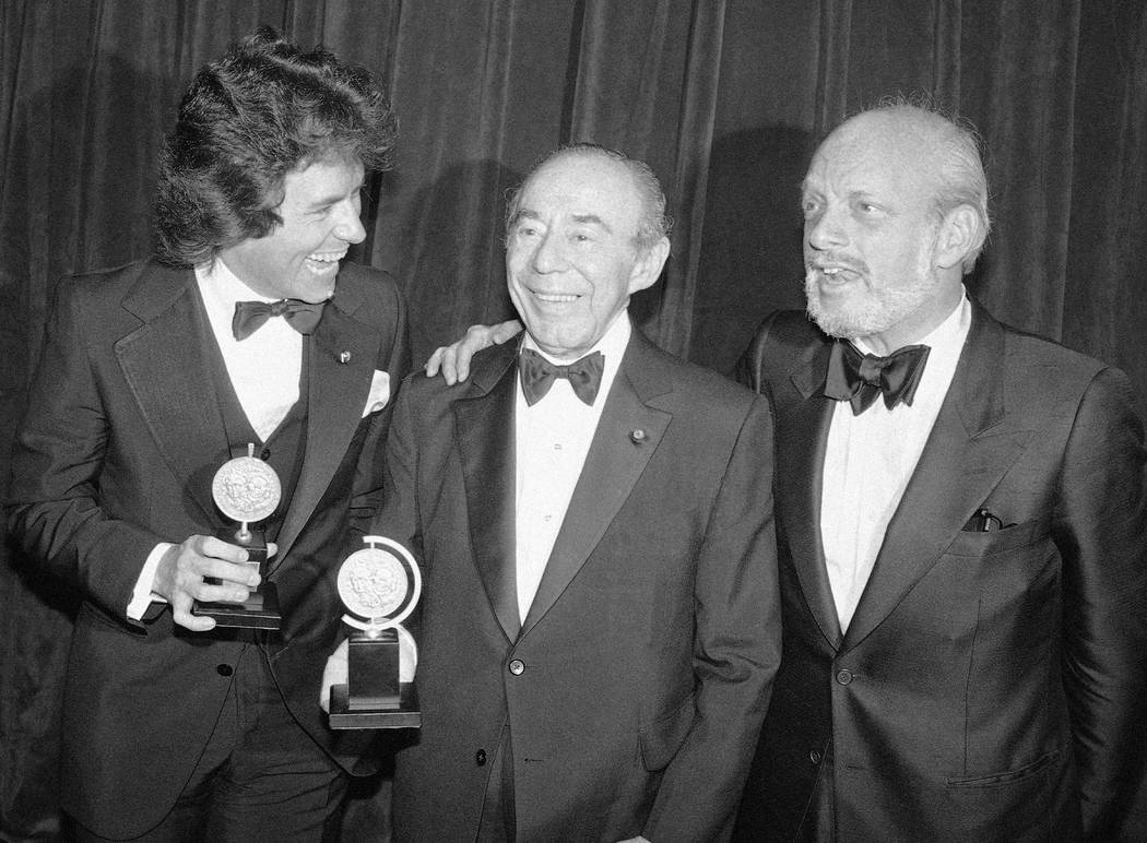 FILE - In this June 4, 1979 file photo, Jack Hofsiss, left, and Hal Prince, right, flank Richar ...