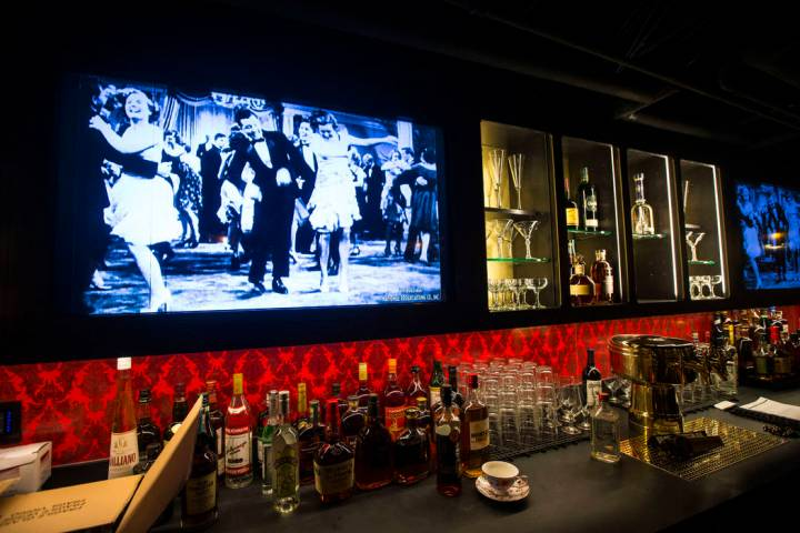 Final touches are made at the bar area of the speakeasy at The Underground at The Mob Museum in ...