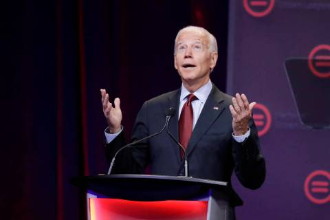 Democratic presidential candidate and former Vice President Joe Biden speaks during the Nationa ...
