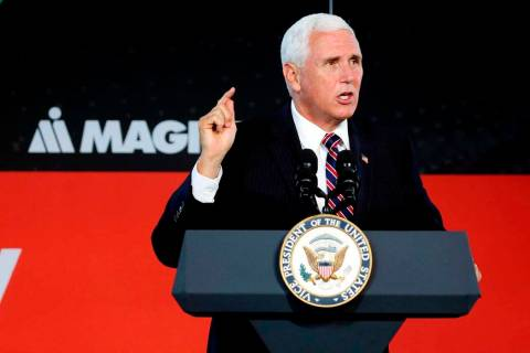 Vice President Mike Pence speaks at the groundbreaking for a new company MAGNA International in ...