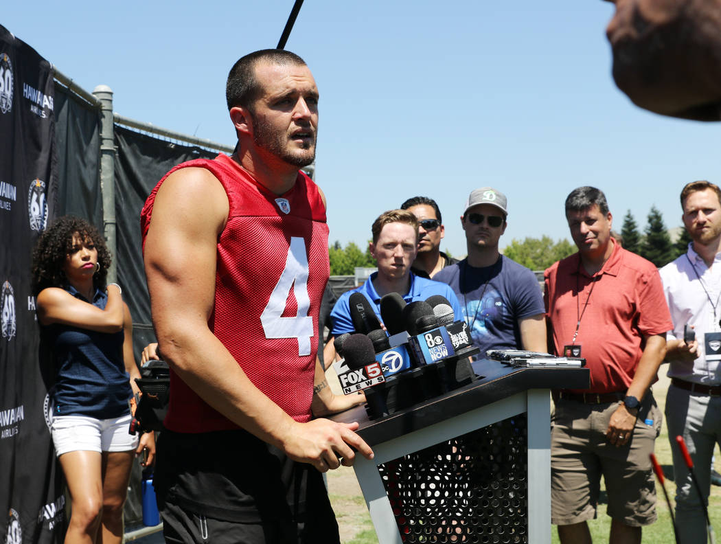 Oakland Raiders quarterback Derek Carr (4) answers questions during the NFL team's training cam ...