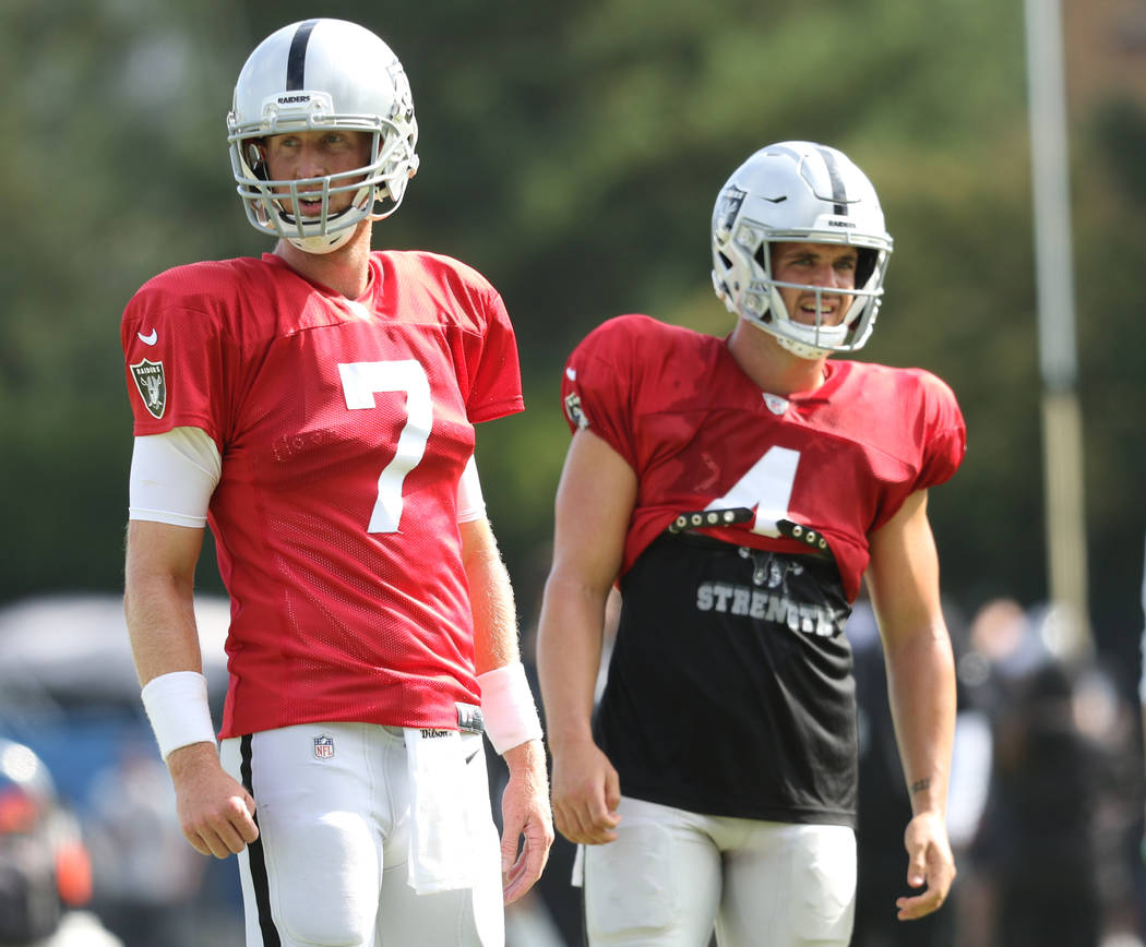 Oakland Raiders quarterbacks Mike Glennon (7) and Derek Carr (4) watch team practice during the ...