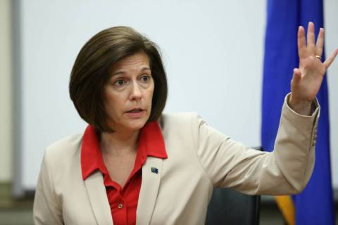 U.S. Senator Catherine Cortez-Masto speaks during a roundtable with reporters at the Lloyd Geor ...