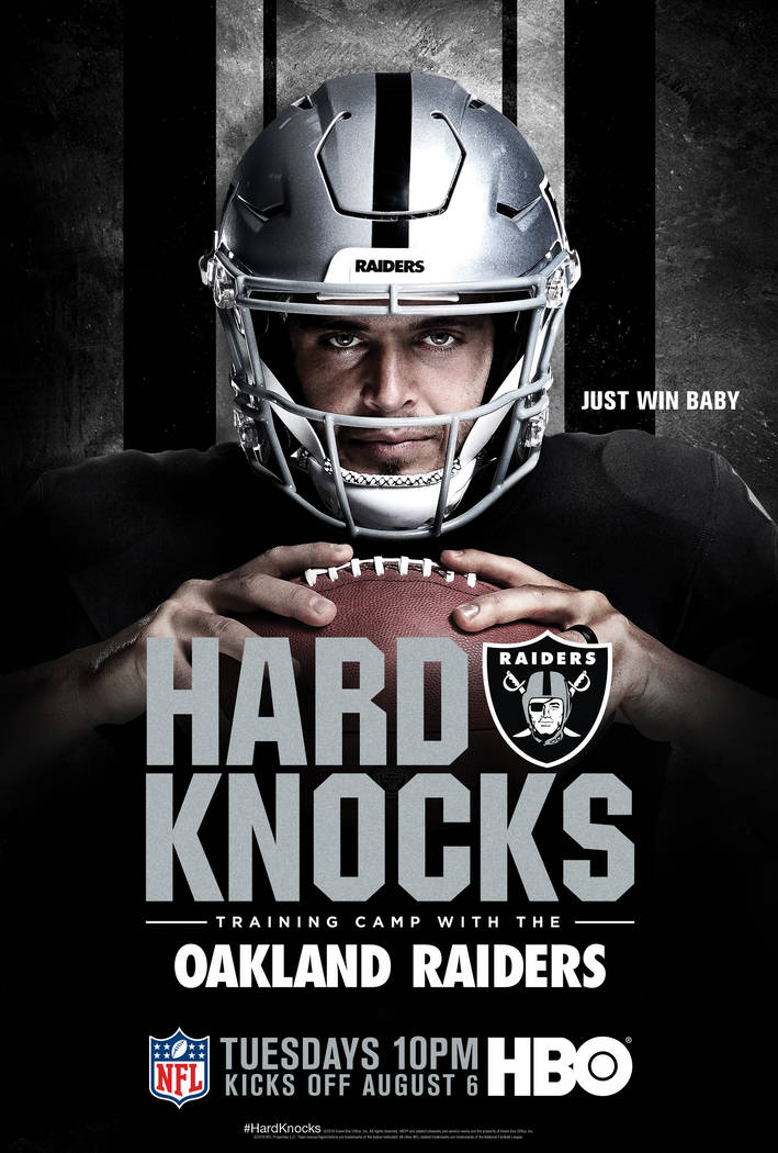 "Raiders' Derek Carr John Gruden featured on an HBO poster for their upcoming series ""Hard Knock ..."