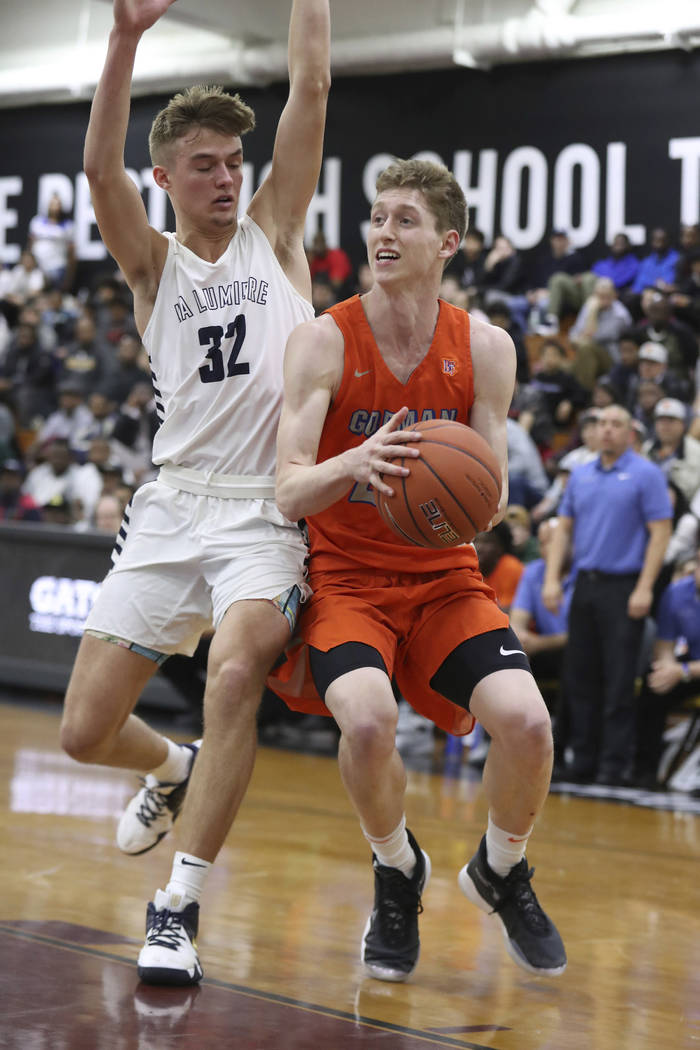 Bishop Gorman's Noah Taitz #20 in action against La Lumiere in a Boys Quarterfinal game at the ...
