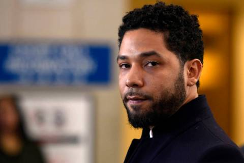 FILE - In this March 26, 2019, file photo, actor Jussie Smollett talks to the media before leav ...