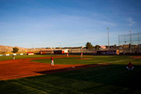 The Las Vegas Wildcats compete against Liberty High School during a baseball game at Las Veg ...