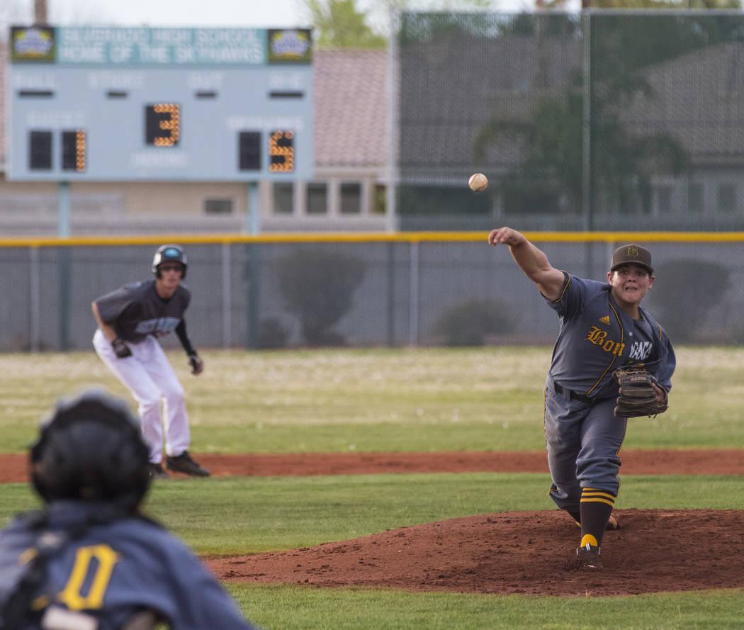 Bonanza pitcher Jay DeSoto (12) throws the ball during a baseball game against Silverado Hig ...